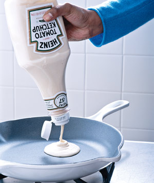 Pour your pancake batter onto the pan easier