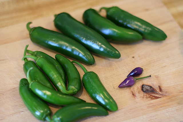 Spicy Jalapeno Peppers and some purple things too