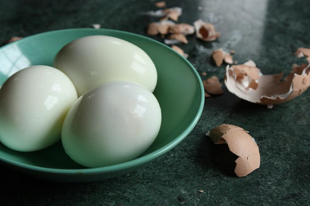 Hard-boiled eggs after peeling
