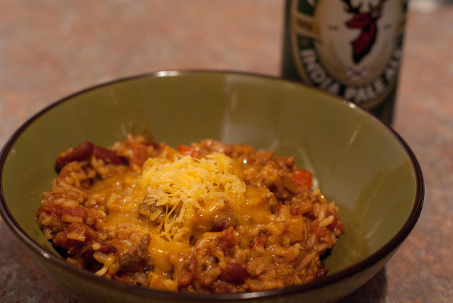 Easy Homemade Chili, covered in cheese