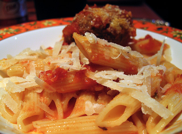 Homemade Pasta Sauce on Penne with Meatballs