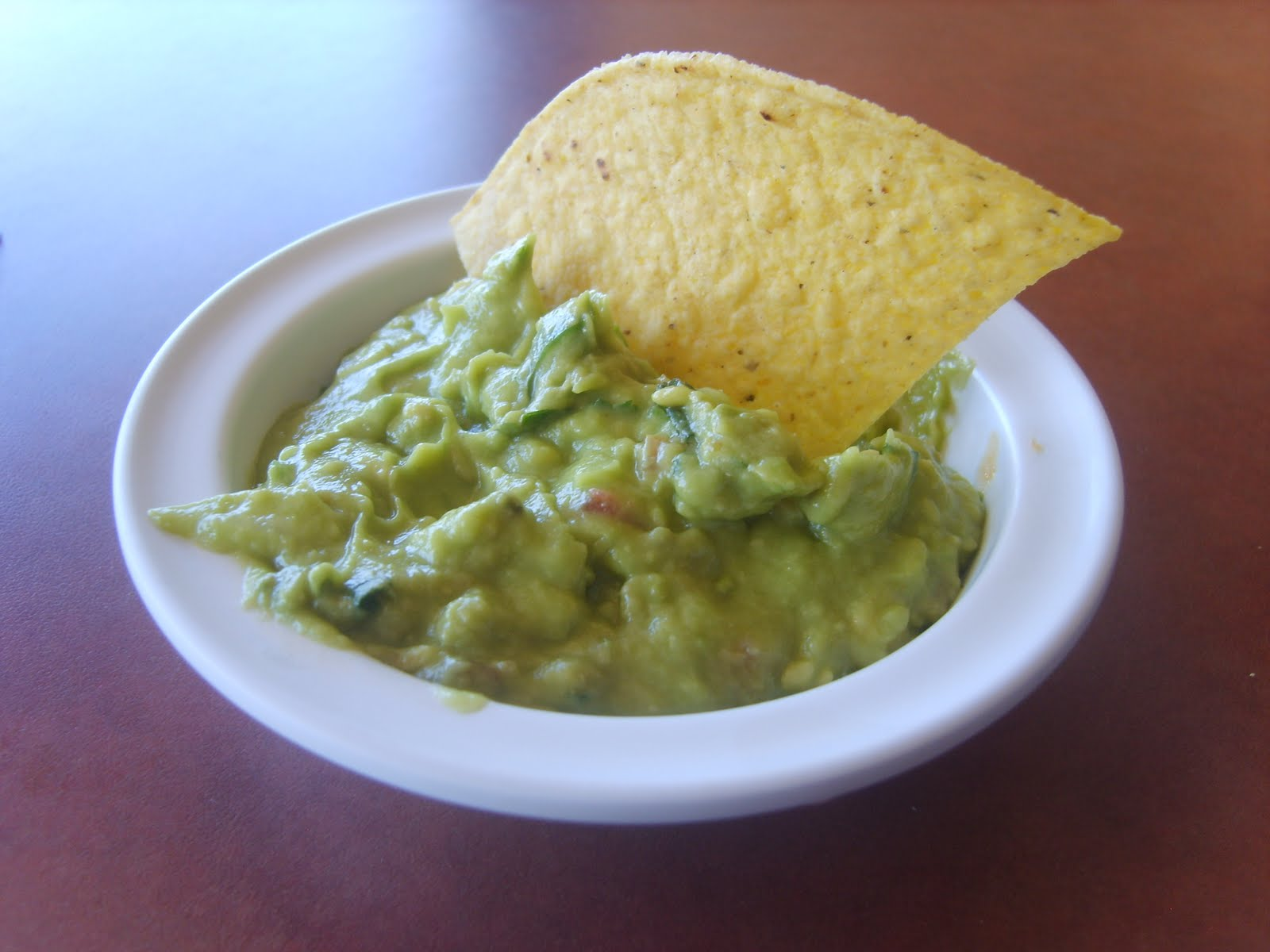 Guacamole and a chip. One chip.