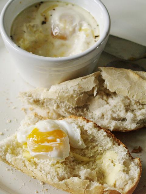 Coddled eggs on homemade bread