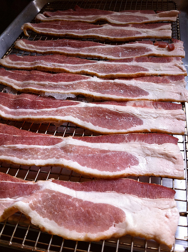 Bacon ready to go in the oven